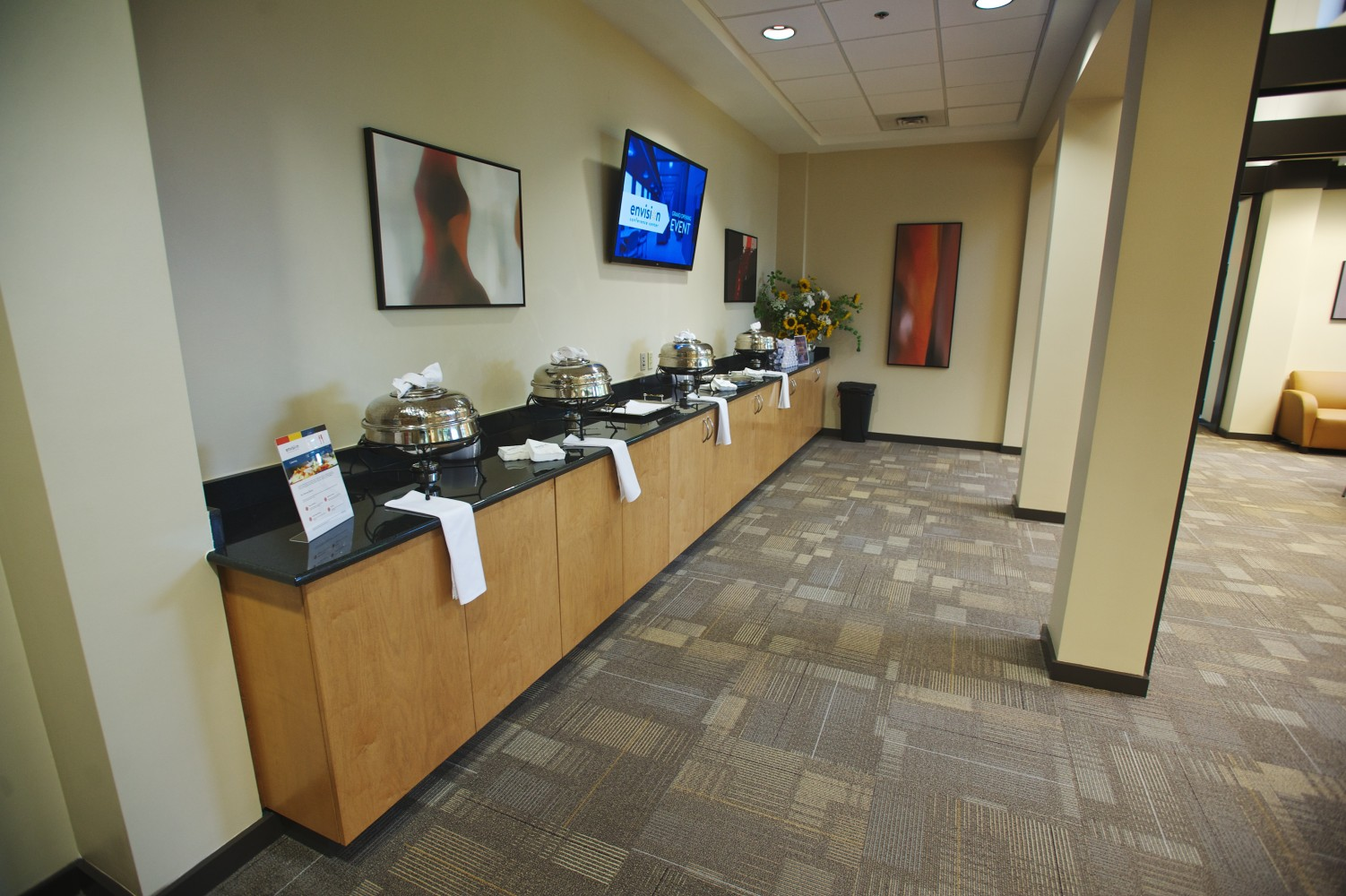 Buffet area, for small event space in Brentwood, TN call today, event space, meeting rooms for rent and business meeting spaces with world class amenities at Envision.